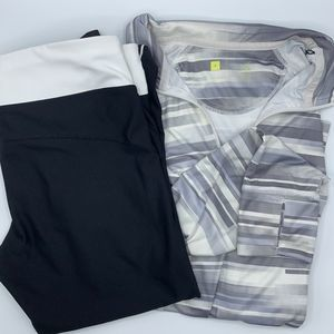 Xersion Fitted Capri Pants & Long Sleeve Top Lot